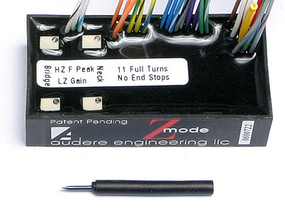 Audere Audio 3ZB on-board bass preamp shown with Low and High Z-Mode adjustments and supplies screwdriver